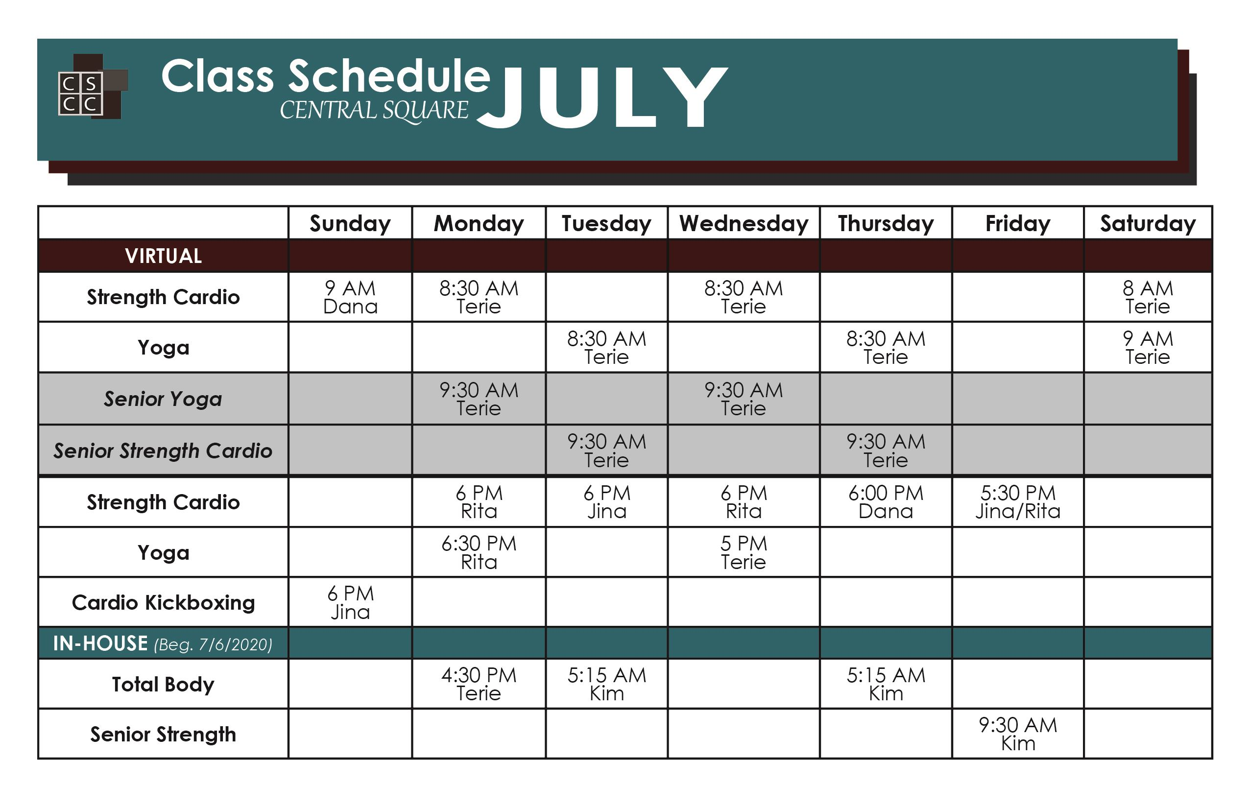 July Fitness Class Schedule only